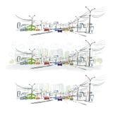 交通路剪影在您的设计的城市 免版税库存照片