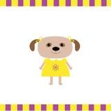Κάρτα κοριτσιών σκυλιών κινούμενων σχεδίων Στοκ εικόνες με δικαίωμα ελεύθερης χρήσης