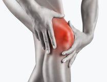 在膝盖的剧痛 免版税库存照片