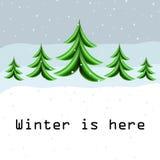 与抽象圣诞树的冬天卡片 免版税库存图片