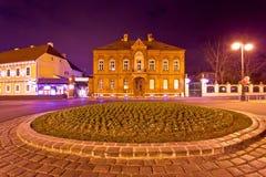 Сцена ночи архитектуры улицы Загреба Стоковая Фотография RF