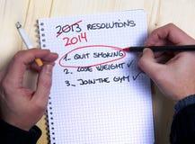 最后岁月新年出故障的决议名单 免版税库存照片