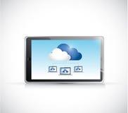 片剂计算机和云彩计算的连接 库存照片