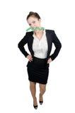 有一个绿色箭头的女商人 图库摄影
