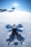 Ангел снега на холме Стоковая Фотография RF