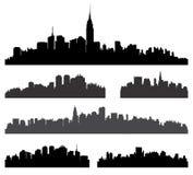 城市剪影集合。 免版税库存照片