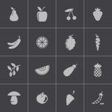 Διανυσματικά μαύρα εικονίδια φρούτων και λαχανικών καθορισμένα Στοκ φωτογραφία με δικαίωμα ελεύθερης χρήσης