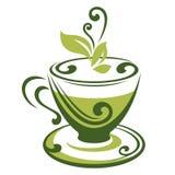 Значок вектора чашки зеленого чая Стоковое Фото