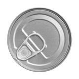 锡罐,从上面的看法 免版税库存照片