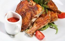 цыпленок зажарил зажарено в духовке Стоковые Изображения RF