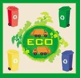 Ζωηρόχρωμη ανακύκλωσης έννοια οικολογίας δοχείων με το τοπίο και τα απορρίματα Στοκ φωτογραφία με δικαίωμα ελεύθερης χρήσης