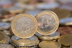 从法国的一枚欧洲硬币 库存照片