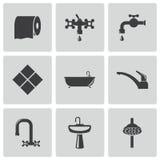 Установленные значки ванной комнаты вектора черные Стоковое Изображение