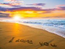 我爱你在沙子海滩 免版税库存照片