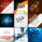 传染媒介新年快乐美丽的汇集假日卡片 库存图片
