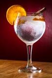 杜松子酒补品用桂香和桔子 图库摄影