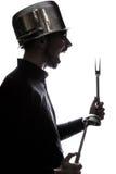 Портрет человека с лотком на его голове Стоковые Изображения