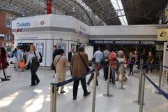 马里波恩地铁车站在伦敦,英国 库存照片