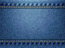 蓝色牛仔布纹理背景 免版税库存照片