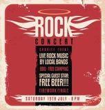 Αναδρομικό σχέδιο αφισών συναυλίας βράχου Στοκ εικόνα με δικαίωμα ελεύθερης χρήσης