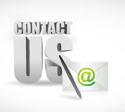 与我们联系信封和标志例证设计 库存图片