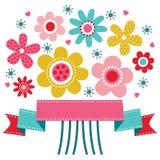 逗人喜爱的花卉贺卡 免版税库存图片