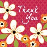 Винтажный флористический спасибо шаблон карточки Стоковые Фотографии RF