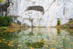 死的狮子纪念碑在卢赛恩 库存照片