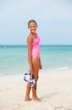 Ευτυχές κορίτσι στην παραλία Στοκ Φωτογραφίες