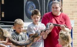 拿着一条大蛇的孩子 免版税库存图片