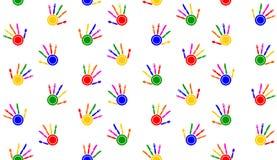Άνευ ραφής τραπεζομάντιλο με τις παλάμες χεριών Στοκ Εικόνα