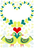 Ретро птицы в карточке дня валентинок влюбленности Стоковая Фотография RF