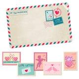 Любовное письмо - винтажная открытка Стоковое Изображение RF