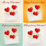 Комплект поздравительных открыток дня валентинки. Иллюстрация вектора. Стоковые Изображения