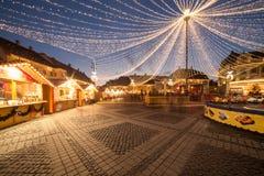 圣诞灯在城市 免版税库存图片