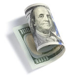 Κυλημένο εκατό δολάριο Μπιλ Στοκ εικόνα με δικαίωμα ελεύθερης χρήσης