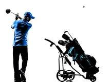 人高尔夫球运动员打高尔夫球的高尔夫球袋剪影 免版税图库摄影