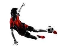 Азиатский силуэт молодого человека футболиста Стоковое Изображение RF
