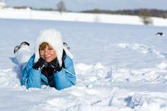 лежа снежок Стоковое Изображение