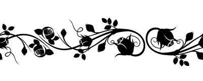 与玫瑰色芽的水平的无缝的小插图。 免版税库存照片