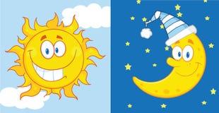 太阳和月亮漫画人物 免版税库存照片