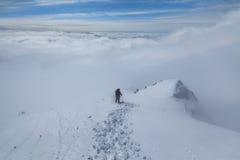 上升在山在冬天 免版税库存照片