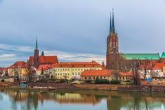 弗罗茨瓦夫老市全景 库存照片