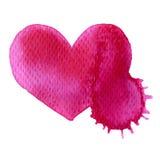 抽象传染媒介手拉的水彩心脏 免版税库存图片