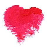 抽象手拉的水彩心脏 免版税库存图片