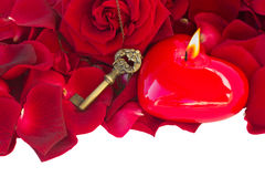 与蜡烛心脏的钥匙 库存图片