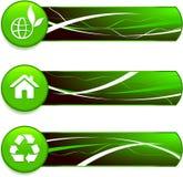 Πράσινα εικονίδια φύσης στα κουμπιά Διαδικτύου με τα εμβλήματα Στοκ εικόνα με δικαίωμα ελεύθερης χρήσης