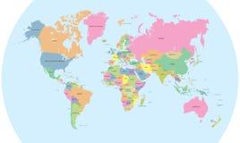 Χρωματισμένος πολιτικός χάρτης του παγκόσμιου διανύσματος Στοκ Εικόνες