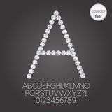 Άσπρα αλφάβητο διαμαντιών και διάνυσμα ψηφίων Στοκ Εικόνα
