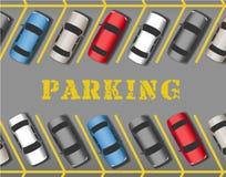 Парк автомобилей в строках места для стоянки магазина Стоковые Фотографии RF